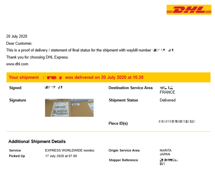 DHL proof of delivery