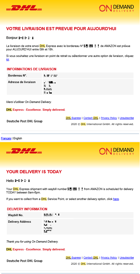 DHL tracking information email notice