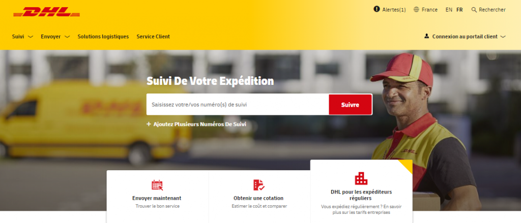 Extract from the DHL tracking page